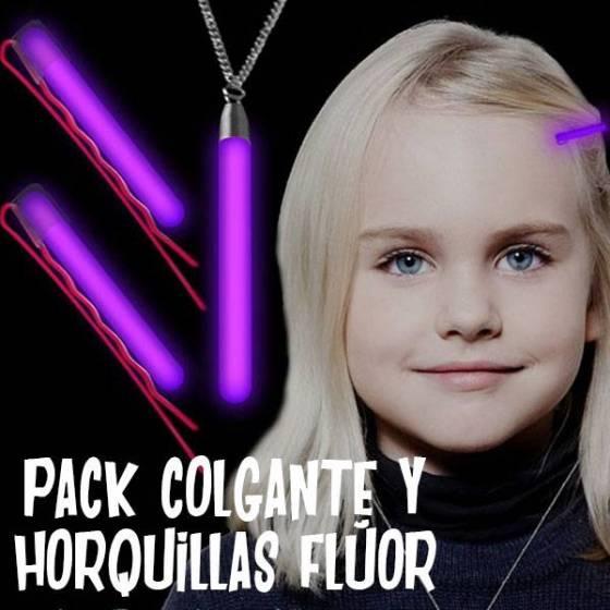 Pack colgante y horquillas fluorescentes
