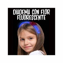 Diadema flor fluorescente para niñas