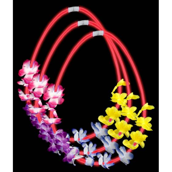 collares hawaianas luminosas rojas