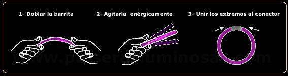 Intrucciones de activación de pulseras luminosas fluorescentes